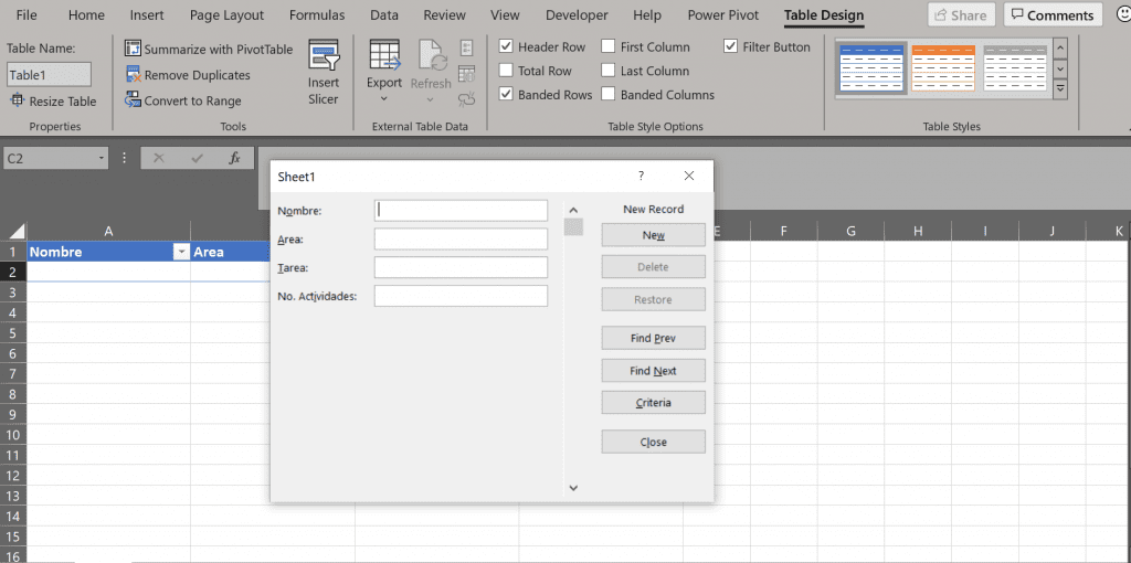 herramienta forma Excel