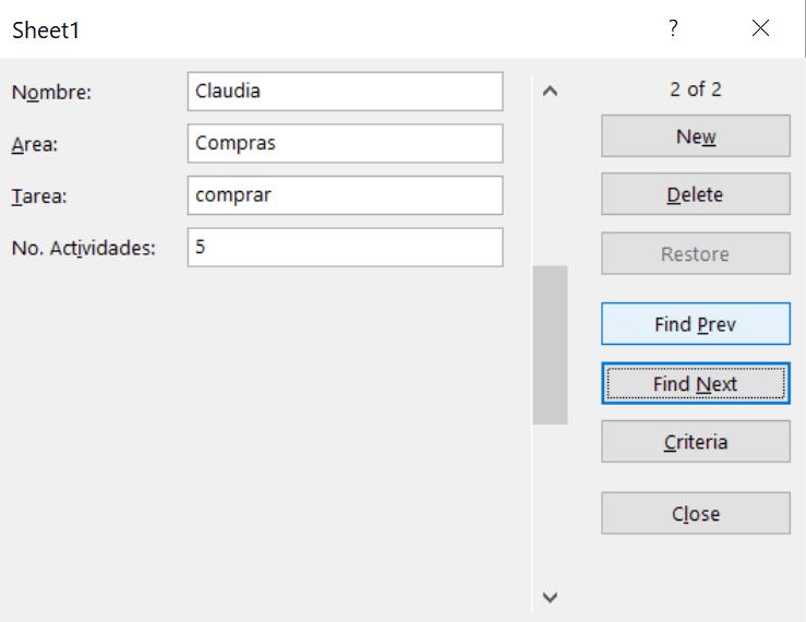 resultado herramienta forma Excel