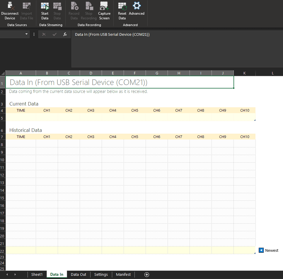 Data Streamer Arduino Excel 2