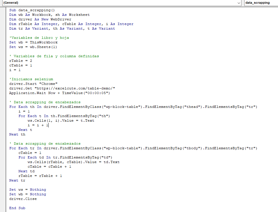 VBA data scraping 2